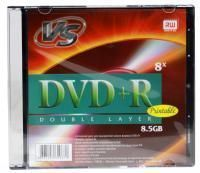 Диск DVD+R VS 8,5 GB, 8x Double Layer, Slim Case (1), Ink Printable (1/200)