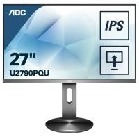 "МОНИТОР 27"" AOC U2790PQU Gray с поворотом экрана (4K, IPS, 3840x2160, 5 ms, 178°/178°, 350 cd/m, 50M:1, +HDMI 1.4)"